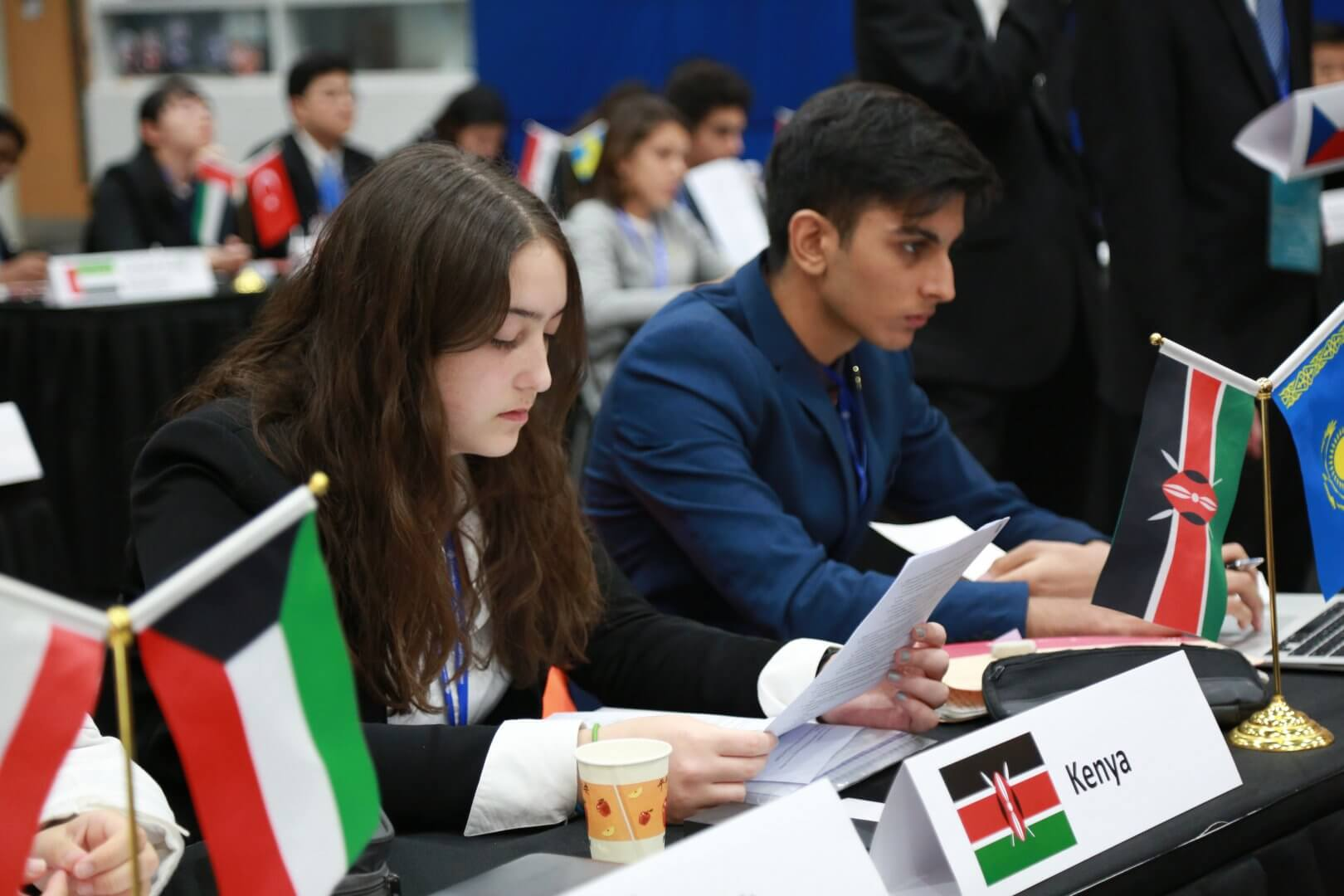 WISS student reviewing her notes at MUN Conference 2020